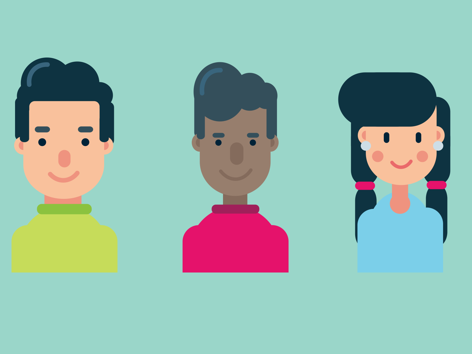 Part-up flat design characters